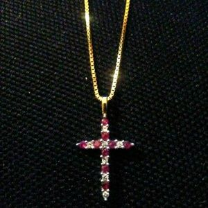 "10K Yellow Gold Jems Cross Pendant Necklace 17.75"""